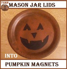 Turn a mason jar lid into a pumpkin magnet with this tutorial from Booth #555 #fallcraft #halloweencraft