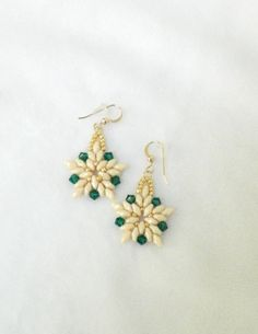 Swarovski earrings White Poinsettia Holiday by LS4Swarovski