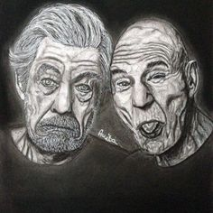 Sir Ian McKellen and Patrick Stewart - Kolormagic Sir Ian Mckellen, Patrick Stewart, Portraits, Tattoos, Drawings, Painting, Products, Sketches, Head Shots
