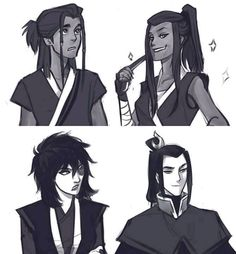 Genderbends: for these characters, I can't see them as genderbent though. For me it's just each sibling had each other's experience. Like, instead of male Katara, I just see Sokka as the one with waterbending. Or Zuko was the privileged one instead of Azula. I can't wrap my head around Avatar genderbends!