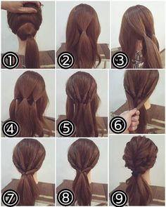 LOOOOOVE this, and could leave the bottom loose or tuck it into a bun. # Braids videos paso a paso Short Hair Styles Easy, Braids For Short Hair, Medium Hair Styles, Down Hairstyles, Braided Hairstyles, Natural Hairstyles, Curly Hairstyle, Trendy Hairstyles, Hair Arrange