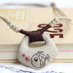 Collar de cerámica, Clay Fish colgante accesorios moda Vintage fábrica venta al por mayor estilo étnico hechos a mano en Collares de Joyería en AliExpress.com | Alibaba Group