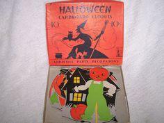 Vintage Halloween Die Cuts ~ Halloween Cardboard Cutouts · Attractive Party Decorations 10¢ * Circa, 1940's