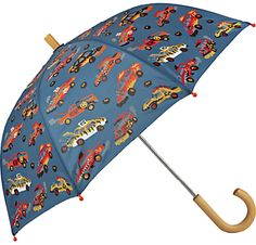 Buy Hatley Children's Demolition Derby Umbrella, Grey from our Boys' Umbrellas range at John Lewis & Partners. Cool Umbrellas, Demolition Derby, Boys Accessories, Wooden Handles, Rainy Days, Grey, Fun, Crafts, Gray
