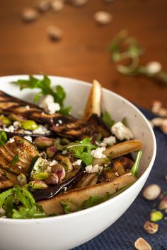 Tofu Greek Salad with Char-grilled Vegetables, Rocket and Pistachios, and a Lemon Dill Dressing