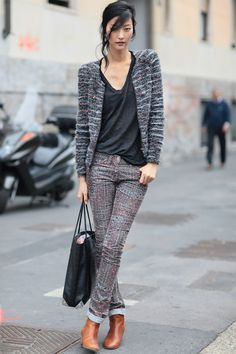 Street Style Inspiration From Milan Fashion Week : Textural intrigue, a must-have pair of boots, and the perfect slouchy t-shirt