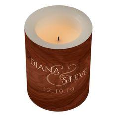 Rustic Wood Wedding Monogram | Mahogany Wood Grain Flameless Candle