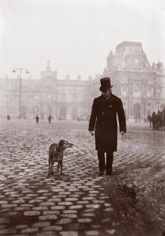 my-little-time-machine: Painter Gustave Caillebotte and his dog in front of the Louvre, 1876