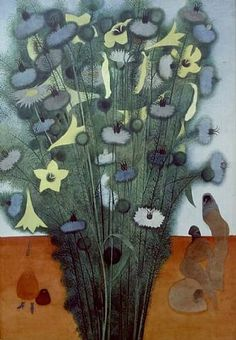 This looks like a wonderful thing to do with tearing paper pieces.     bouquet, by Edward Burra