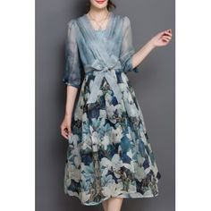 Chic 3/4 Sleeve V Neck Floral Print Women's Dress (BLUE,XL) in Print Dresses | DressLily.com