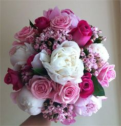 Love this bridal bouquet - roses, peonies, bouvardia