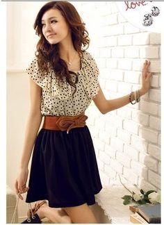 Fashion Women's Summer Short Sleeve Chiffon Dots Polka Waist Top Dress s M L | eBay