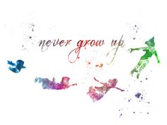 Peter Pan zitieren 'Nie Grow Up' ART PRINT Abbildung, Disney, Mischtechnik, Home Decor, Kindergarten, Kind