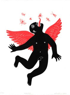 The Human Fly. Screenprint by Bianca Tschaikner.  #screenprint #fly #monster #wings #illustration #drawing #digital #insect #human #red #print #fantasy #printmaking