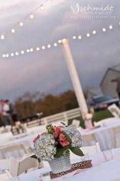 Vintage wedding. Overhead lighting!