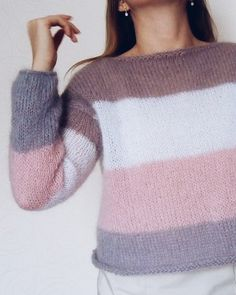 Oversized mohair sweater with stripes, beautiful sweater for woman Source by tejidosisabell Sweater Mohair Sweater, Cute Outfits For Kids, Trendy Outfits, Sweater And Shorts, Winter Sweaters, Cardigans For Women, Knitwear, Knitting Patterns, Knit Crochet