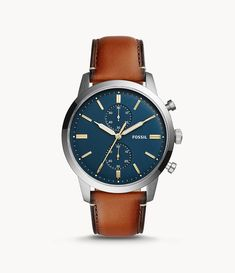 Fossil Men Townsman Chronograph Luggage Leather Watch Brown - One size Gents Watches, Cool Watches, Wrist Watches, Fossil Leather Watch, Skeleton Watches, Vintage Watches For Men, Fossil Watches, Bracelet Cuir, Luxury Watches