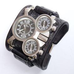Men's wrist watch leather bracelet Steampunk by loversbracelets