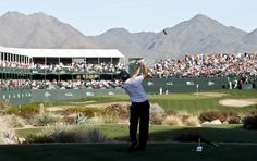Teeing off on 16 at the Waste Management Open