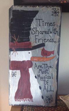Wooden snowman craft.