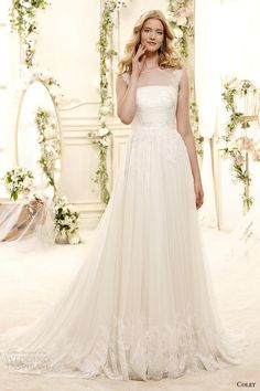 colet bridal 2015 style 77 coab15213iv sheer neckline a line wedding dress