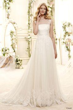 colet bridal 2015 style 77 coab15213iv sheer neckline a line wedding dress