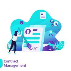 Landing Page Contract Management Vector Illustration Concept Contract Management, Web Design, Finance Bank, Staff Training, Vector Format, Flat Illustration, Mobile App, Online Courses, Banner