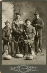 Milwaukee banker John Johnston (seated right) with members of the Milwaukee Curling Club.