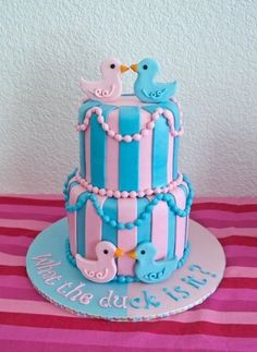 """Gender Reveal. Cake says,""""What the duck is it?"""" :)"""