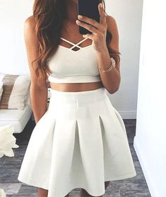 white two pieces short prom dress. cute homecoming dress