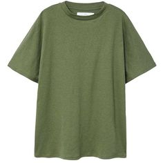 Organic Cotton T-Shirt ($18) ❤ liked on Polyvore featuring tops, t-shirts, momma, shirts, green top, round t shirt, short sleeve t shirt, green short sleeve shirt and organic cotton t shirts