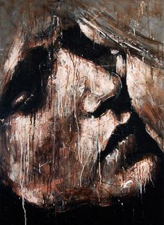 """""""In Too Deep"""" - Joshua Miels {contemporary #expressionist artist female head woman face portrait smudged texture painting grunge drips}"""