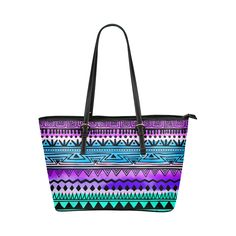 Purple and Teal Tribal Pattern Leather Tote Bag/Small (Model 1651)