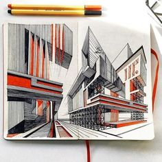 arch sketching architecture buildings sketchbook artbook notebook Ольга Савонюк