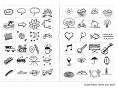 Visual note-taking - austin kleon Small Drawings, Doodle Drawings, Doodle Art, Visual Thinking, Design Thinking, Filofax, Visual Note Taking, Austin Kleon, Note Doodles