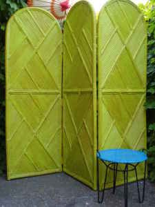 Mid Century Chartreuse Green Bamboo Folding Screen