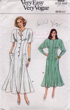 Free Us Ship Sewing Pattern Vogue 9868 Vintage Retro 1980's 80s 1987 Dolman Sleeve Drop Shoulder Dress Size 8 10 12 Bust 31 32 34 Uncut by LanetzLiving on Etsy