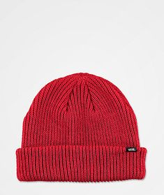 Grab some versatile style from your favorite company, Vans, with the Core Basic chili pepper red beanie. This thick-knit toque offers tons of warmth and comfort and is designed to be worn folded or slouched. Bright red and super soft, you can't go wrong Vans Logo, Your Favorite, Knitted Hats, Chili, Stuffed Peppers, Knitting, Beanies, Core, Bright