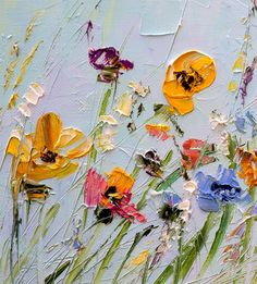 Oil Painting Flowers Palette Knife Painting on от ForestSandandAir