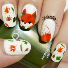 Not actual porn, just nails! 💅🏻💅🏼💅🏽💅🏾💅🏿None of these nails are mine unless stated. Fall Nail Art Designs, Cute Nail Designs, Autumn Nails, Winter Nails, Trendy Nails, Cute Nails, Fox Nails, Animal Nail Art, Nails For Kids