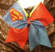 Super Hero Red and Blue Glitter Superman Cheer Bow