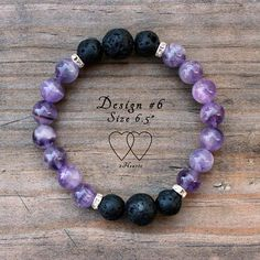 Amethyst Lava Bracelet, Diffuser Bracelet, Gemstone Bracelet, Design #6 The bracelet is threaded securely on clear stretch elastic. For best fit, please measure the smallest part of your wrist and add about a half to a full inch depending on fit preference. Please contact us for