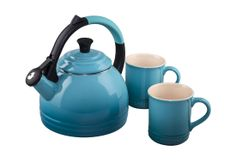 The Peruh kettle and mug set both feature Le Creuset's signature three-ring accent.