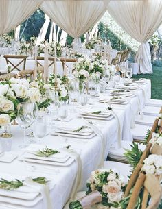 The Dreamiest Springtime Ranch Wedding is part of Garden wedding reception - An elegant spring wedding at the San Ysidro Ranch with a luxe allneutral tablescape covered in candles, florals and dreamy white draping Wedding Table Decorations, Wedding Table Settings, Wedding Themes, Wedding Centerpieces, Spring Decorations, Tent Decorations, Centerpiece Ideas, Tent Wedding, Dream Wedding