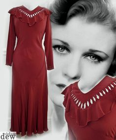 1930 s dress ORIGINAL genuine vintage DEEP RED BURGUNDY BIAS evening 10 36