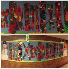 Snowboard and ski preschool bulletin board.