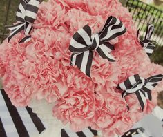 #Pink #Carnations and #bows, styled by @Shanna Jestice of Ruffles & Rouge Events.