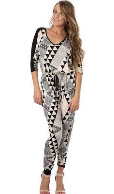 One Hottie Mama  - Geo Dolman Sleeve Jumpsuit , $54.90 (http://stores.onehottiemama.com/geo-dolman-sleeve-jumpsuit/)