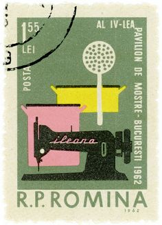 Romanian postage stamp from 1962 - Needlework Old Stamps, Vintage Stamps, Postage Stamp Design, Matchbox Art, Lettering, Typography, Illustration, My Stamp, Stamp Collecting