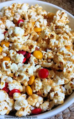 Easy Stove-top Caramel Popcorn (GF) - this is our favorite caramel popcorn recipe; no baking required. Add chopped nuts and candies, sprinkles, pretzels, crushed cookies, etc... the possibilities are endless. #popcorn #caramel #blessedbeyondcrazy